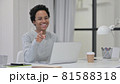 African Woman with Laptop Pointing at Camera  81588318
