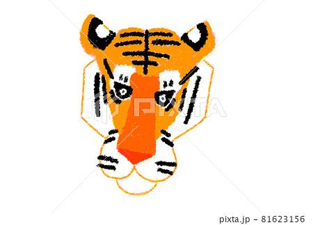 寅年の年賀素材 寅の顔のイラスト:オレンジ:クレヨン 81623156
