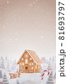 Cute cozy fairy Christmas gingerbread house decorated of Christmas lights 81693797