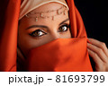 Close Up Portrait Of Beauty Young Muslim Woman In Hijab Looking At Camera 81693799
