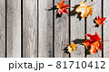 Beautiful autumn leaves on wooden background 81710412