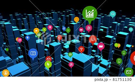 3D都市とアプリアイコン ソーシャルネットワーク  81751130