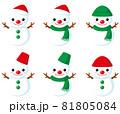 雪だるまアイコン(男の子)/フチなし透明背景用 81805084