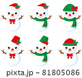 雪だるまアイコン(女の子)/フチなし透明背景用 81805086