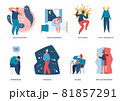 People with mental illnesses, psychological problems or depression. Men and women living with bipolar disorder and insomnia vector set 81857291