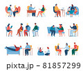 People at therapy session with psychologist, counseling psychology. Professional psychotherapist talking to patient, children therapy vector set 81857299