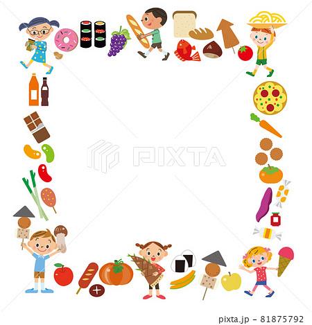 子供 食品 余白 イラスト 四角 81875792
