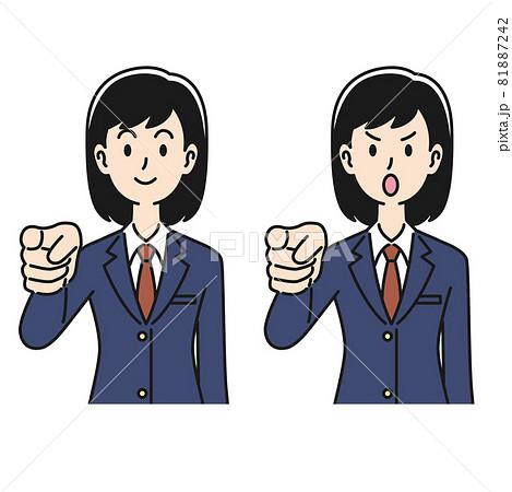 指摘のポーズをする女子高生 81887242