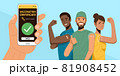 Hand holding smartphone showing vaccinated. Happy people showing their arms after receiving covid-19 vaccination. 81908452
