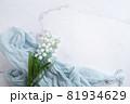 鈴蘭・すずらん・スズランの花。コピースペース有りの白背景 81934629