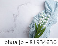 鈴蘭・すずらん・スズランの花。コピースペース有りの白背景 81934630