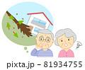 家と土砂災害を心配するシニア 81934755