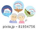 家と災害を心配するシニア 81934756