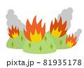 山火事と燃えたつ煙のイラスト 81935178