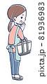 お買い物する中年の女性のイラスト 81936983