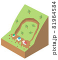 地滑りの構造 土砂災害アイソメトリックなイラスト 81964584