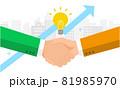 緑のロゴの会社とオレンジのロゴの会社の提携イメージ、ビジネスコンセプトイラスト、ベクター 81985970