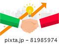 緑のロゴの会社と赤のロゴの会社の提携イメージ、ビジネスコンセプトイラスト、ベクター 81985974