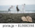 海ではしゃぐ男女 81986398