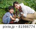 サツマイモを収穫する親子 81986774