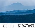 霞んだ森の上に遠方の山の輪郭が姿を現した 81987093