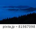 夜明け前に周囲が明るくなると雲海から山頂が顔をだした 81987098