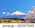 春の桜と桜吹雪 そして青空の富士山 82007040