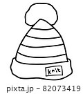 ニット帽の線画イラスト 82073419