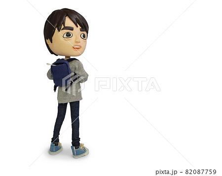 リュックの男の人形 振り向き 82087759