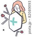 ウイルス対策 女性 シンプルイラスト 82089093