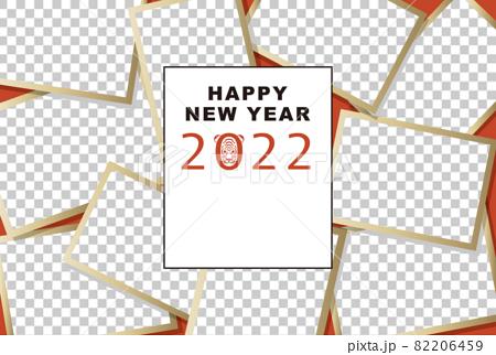 2022年賀状テンプレート「大盛りフォトフレーム」ハッピーニューイヤー 手書きスペース 82206459