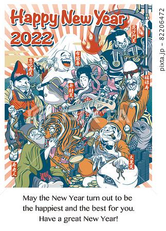 2022年 年賀状テンプレート「ちょっとおかしな七福神」シリーズ HAPPY NEW YEAR 英語添え書き付き ハガキ縦位置シリーズ