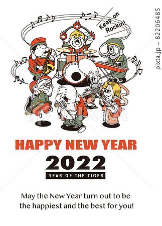 2022年 年賀状テンプレート「七福神ロックバンド」シリーズ HAPPY NEW YEAR 英語添え書き付きパターン