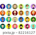 スーツを着た様々な人種の男性と女性の上半身の円形のアイコン 82216127