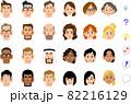 様々な人種の男性と女性の顔 82216129