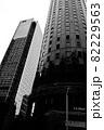 大阪駅中央口前のビル風景 白黒写真  82229563