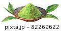 水彩抹茶の粉と葉っぱ 82269622