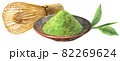 水彩抹茶の粉と茶筅 82269624