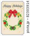 Happy Holidays 白い花と赤いリボンのリース グリーティングカード 82303914