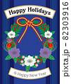 かわいいお花と金赤リボンのリースHappy Holidays & Happy New Year 82303916