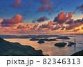 来島海峡大橋の美しい夕景 82346313