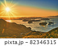 来島海峡大橋の美しい夕景 82346315