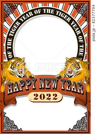 2022年 年賀状テンプレート「アートポスター風フォトフレーム」シリーズ HAPPY NEW YEAR お好きな添え書きを書き込めるスペース付きパターン