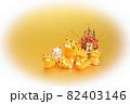 年賀素材 かわいい寅の親子と門松 楕円白バック 82403146
