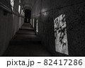 鹿児島県霧島市の千里ヶ滝に至る風景 暗いトンネルと遊歩道 82417286