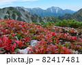 紅葉の北アルプス。絶景トレイル。日本の雄大な自然。百名山、剱岳。 82417481