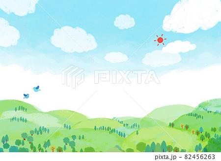 自然風景 街並 山 空 手描き 82456263