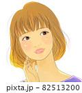 シフォンベージュボブスタイルのかわいい女の子 82513200