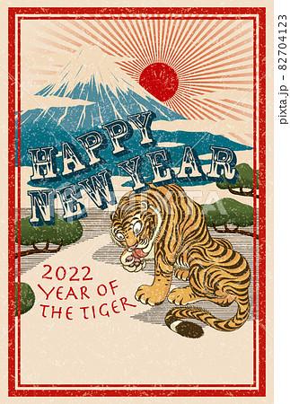 2022年 年賀状テンプレート「ジャポニズム」シリーズ HAPPY NEW YEAR お好きな添え書きを書き込めるスペース付きパターン