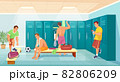 Men athletes in gym locker room, soccer team change clothes. Sportsmen in changing room, football players after training vector illustration 82806209